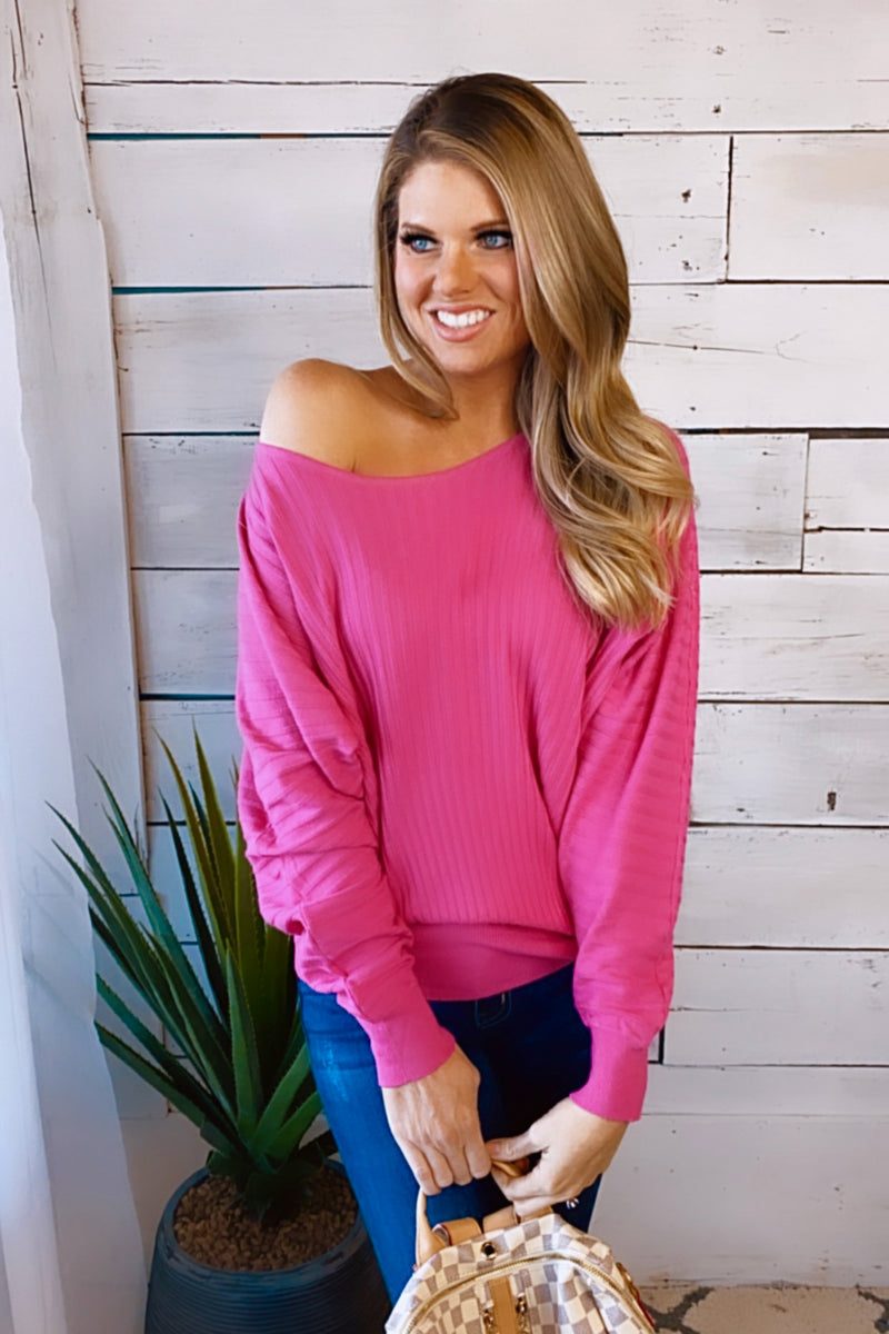 Stories Of Us Ribbed Knit Sweater : Hot Pink