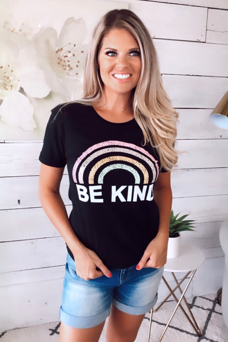 Be Kind Rainbow Top : Black