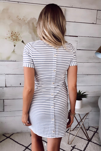 Know Me Better Striped Button Dress : White