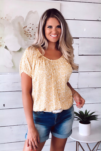 You Flatter Me Floral Top : Yellow