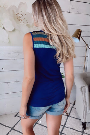 Weekend Comforts Pocket Tank : Blue/Multi