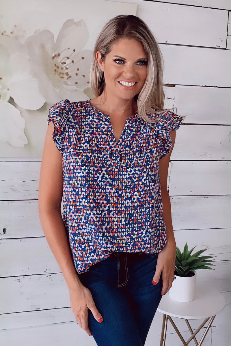 That Much Sweeter Ruffle Blouse : Royal Blue