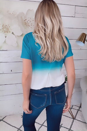 Free Falling Ombre Color Block Tee : Teal/ White