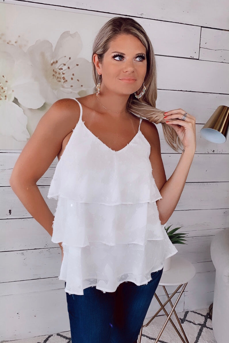 My Best Self Ruffle Top : White