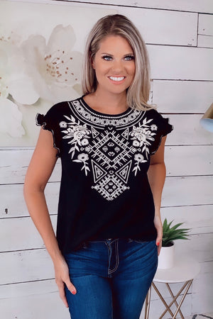 My Best Wish Embroidered Top : Black