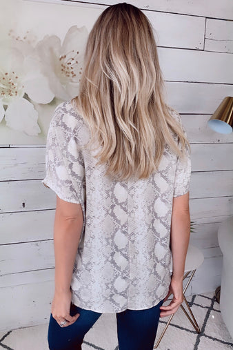 Desert Nights Snake Print Top : Cream/Taupe