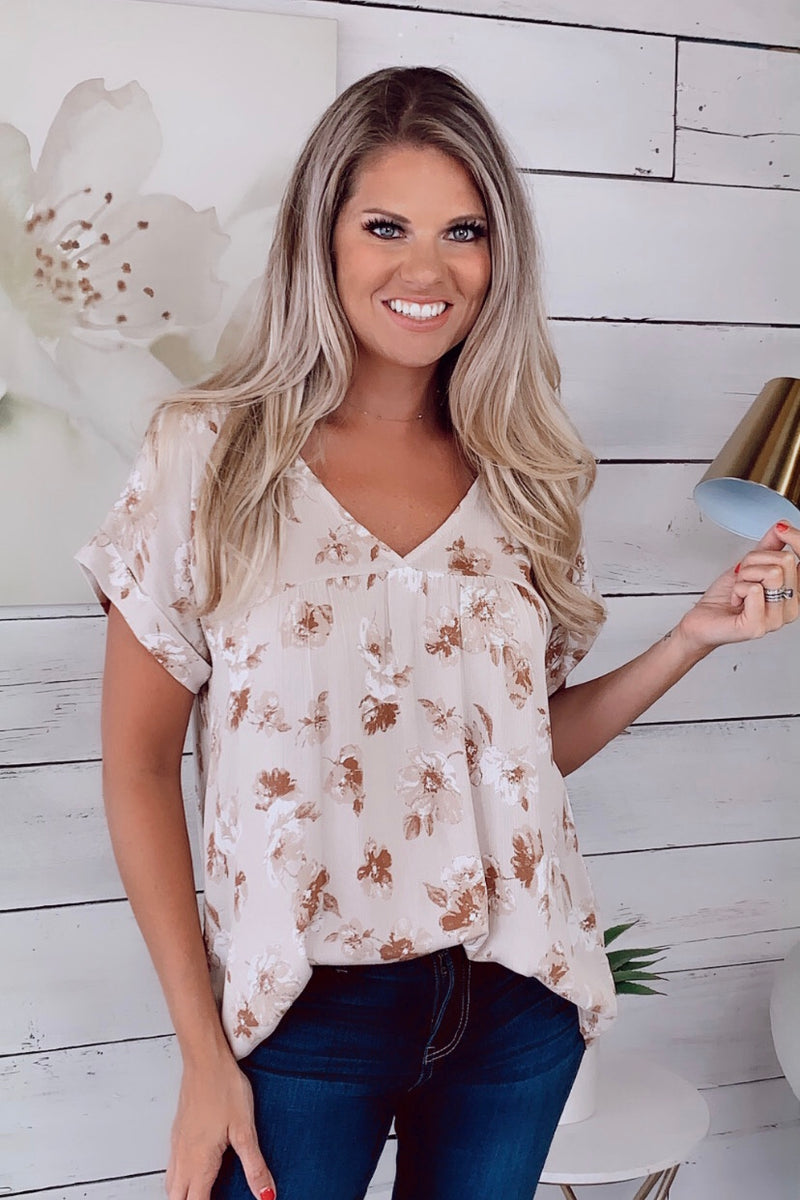 Faithful To You Floral Top :Simply Taupe