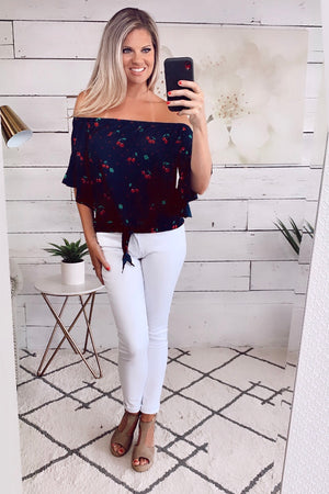 A Cherry On Top OTS Blouse : Navy