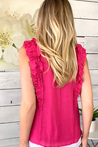 Darling Destiny Pleated Top : Hot Pink