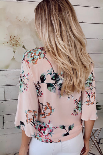 Feeling Loved Floral Blouse : Light Pink