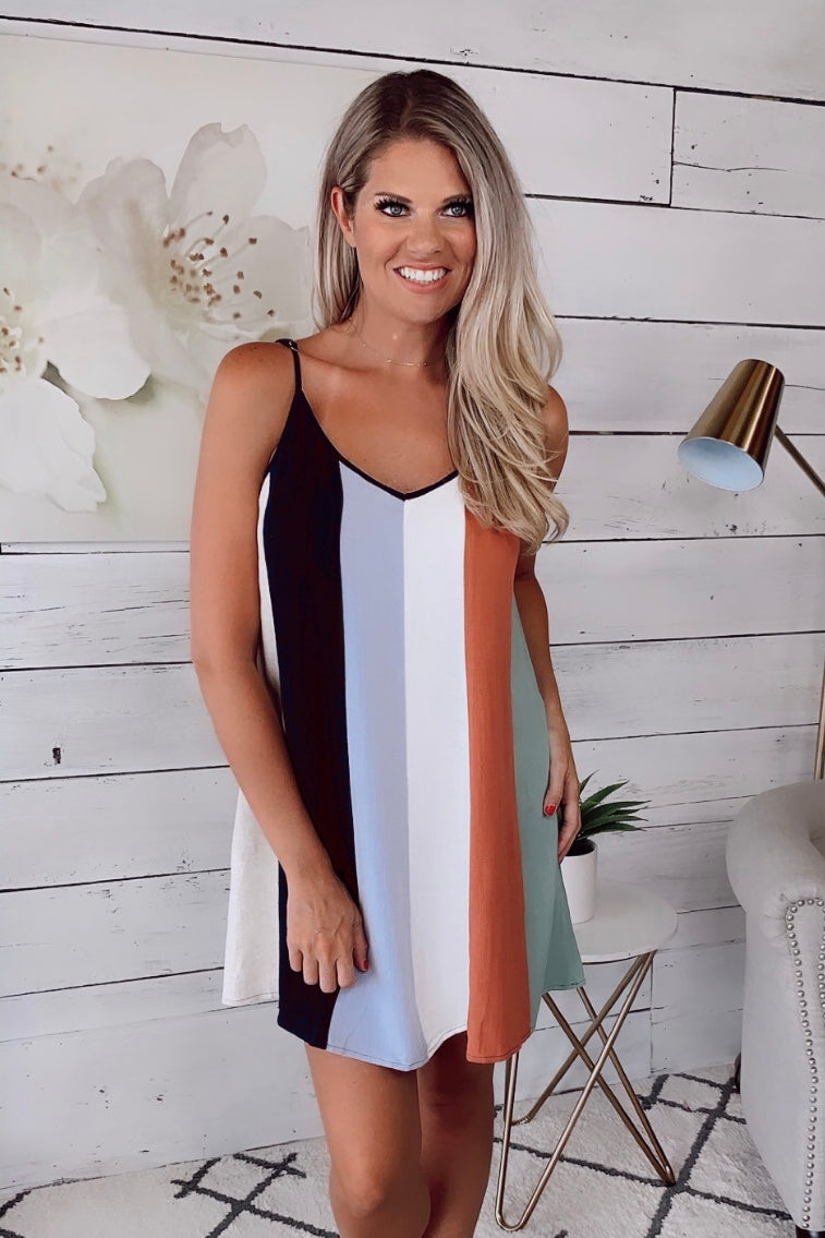 The Sea Breeze Striped Dress : Navy Combo