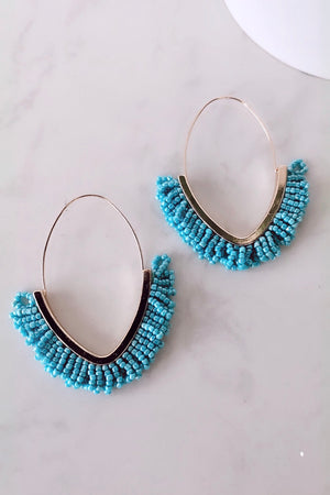 Jasmine Beaded Drop Hoop Earrings : Aqua Blue