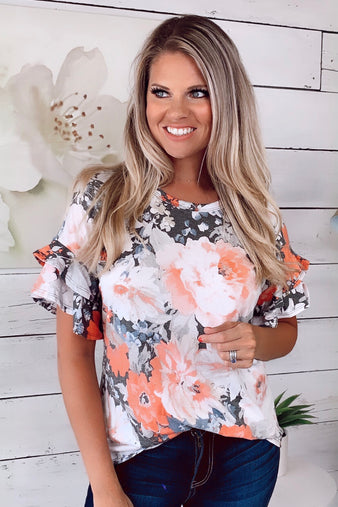 I Send My Love Floral Top : Coral/Grey