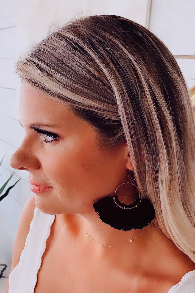 Willow Fringe Earrings : Black