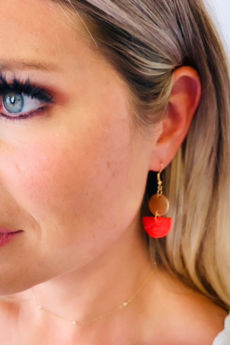 Natalia Stone Drop Earrings : Red
