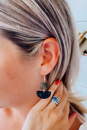 Natalia Stone Drop Earrings : Black
