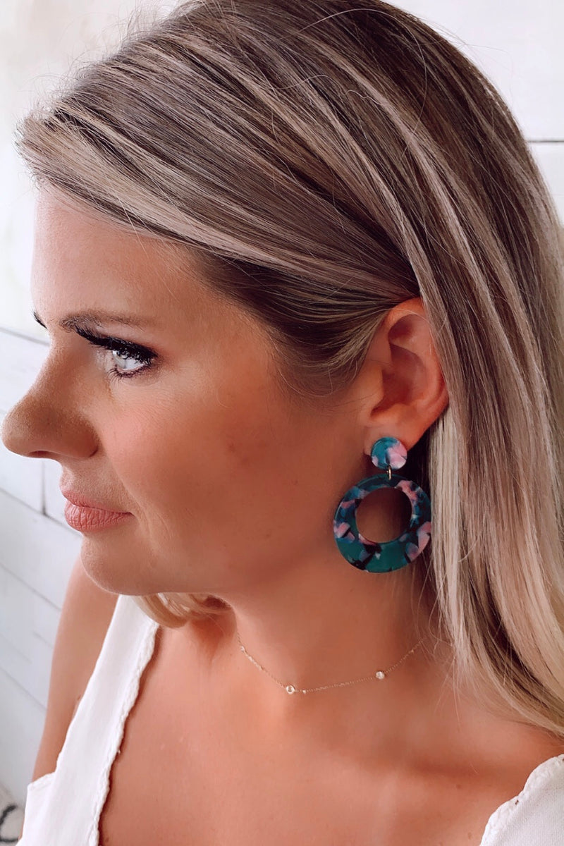 Aranza Tortoise Hoop Earrings : Teal