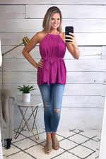 Casual Crush Pleated Halter Top : Magenta