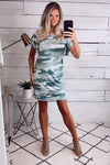 Latest Status Camo Ruffle Sleeve Dress : Green
