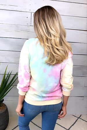 Peace Out Tie Dye Sweatshirt : Yellow/Pink