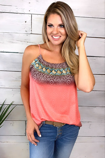 Grand Evening Printed Top : Coral