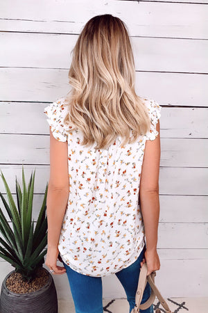 Story Of Us Floral Frilled Top : Off White