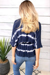 All My Wishes Tie Dye Blouse : Washed Navy