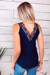 Seize The Day Lace Detail Top : Navy