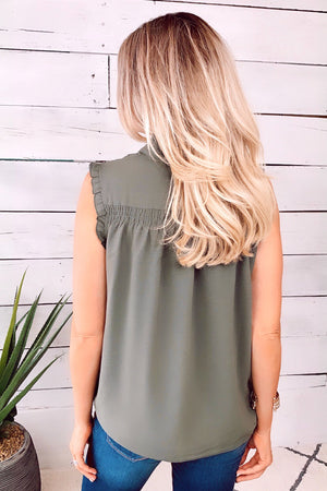 Very Outgoing Ruffle Blouse : Olive
