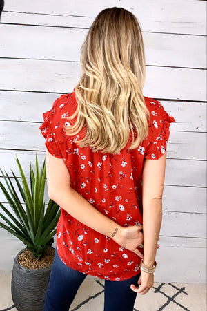 A Day With You Floral Top : Red Mix