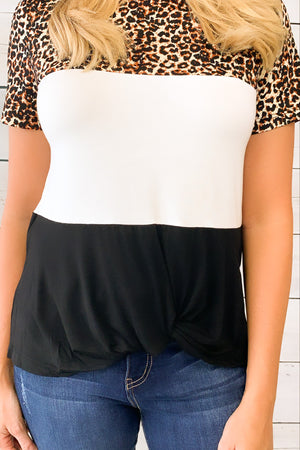 Hint Of Style Colorblock Tee : Leopard/Black