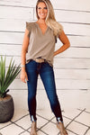 Simple And Sweet Flutter Sleeve Top : Mocha Grey