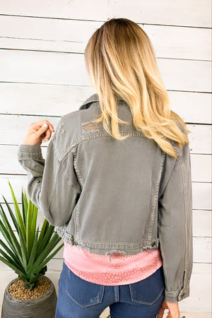 To Be Expected Denim Jacket : Grey