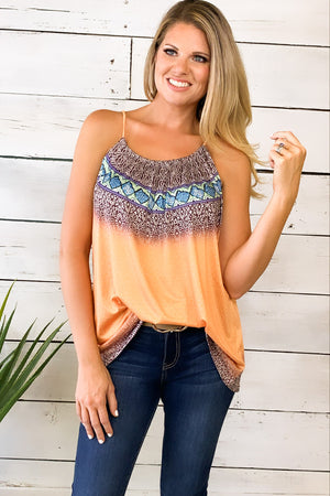 Grand Evening Printed Top : Orange
