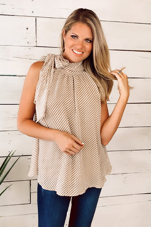 Free To Roam Striped Halter Top : Taupe