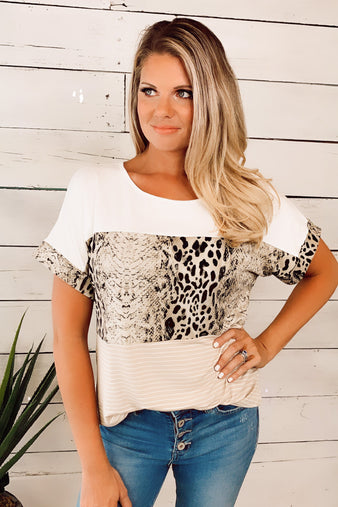Say It Ain't So Animal Print Top : Taupe