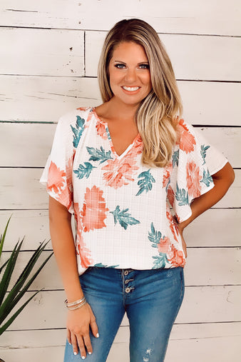 Water Front Floral Top : Off White