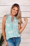 Garden Cafe Chiffon Top : Floral Mint