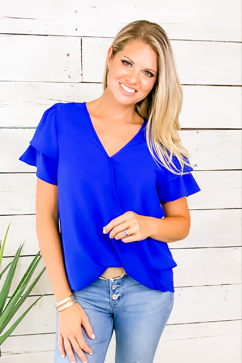 Between Moments Flutter Sleeve Top : Royal Blue