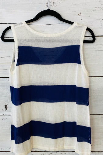 Walk This Way Striped Knit Top : Navy/Ivory (Large-2X)