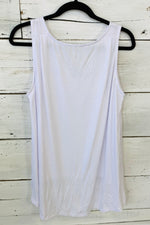 Close Call Button V Neck Top : White (Large & 2X)