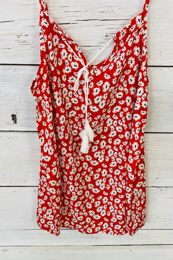 Stay Sweet Floral Print Top : Red/White (Large & 2X)