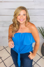 Surely Sweet Off The Shoulder Top : Blue (Small & XL)