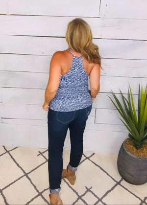 Cali Coast Printed Top : Navy (Small-XL)