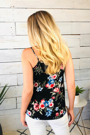 Search For Perfect Floral Tie Front Top : Black