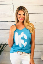 KC Geometric Tank : Blue