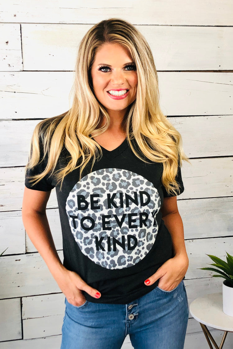 Be Kind To Every Kind V-Neck Tee : Charcoal