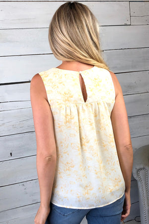 Delightful Views Printed Top : Ivory/Yellow