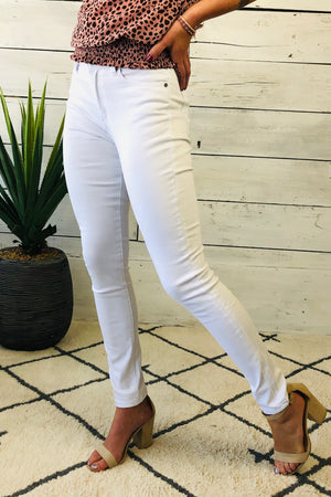 Ella Gemma High Rise Super Skinny Jeans : White