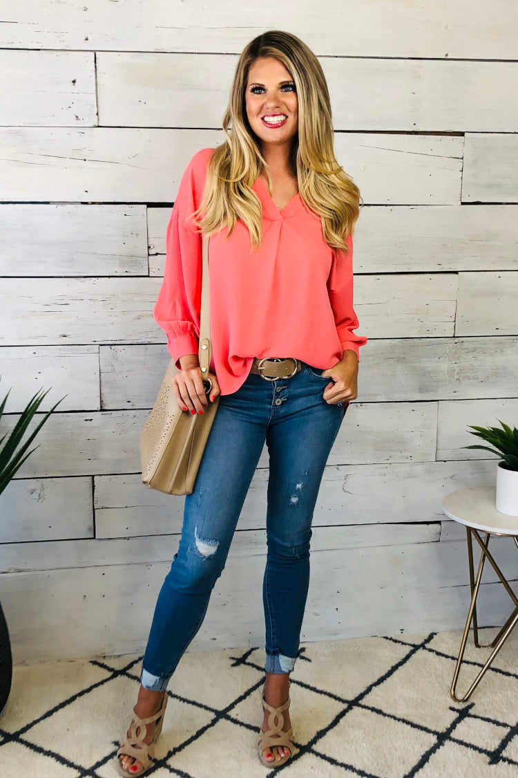Rooftop Toast V-Neck Blouse : Coral